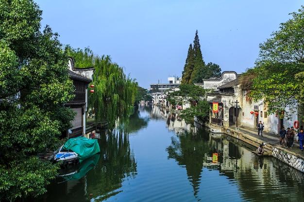 China, cenário, casa, estrada, paredes, estrutura