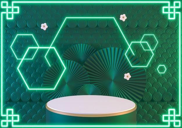 China fantasia verde pódio luz néon azul mostra produto cosmético. renderização 3d