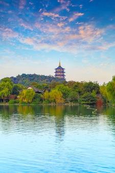 China, lagoa, nuvem, cidade, madeira, quadro