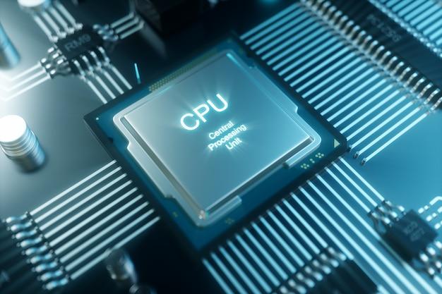 Chip de computador de ilustração 3d, um processador em uma placa de circuito impresso. o conceito de transferência de dados para a nuvem. processador central na forma de inteligência artificial. transferência de dados