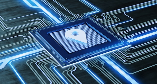 Chip de processador cpu e placa de oncircuit de conexão de rede - render 3d