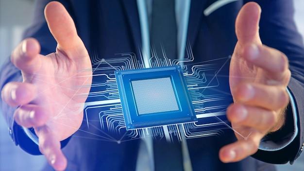 Chip do processador e conexão de rede - render 3d