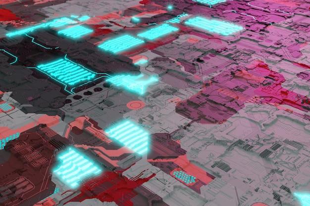 Chip do sistema da placa-mãe com elementos brilhantes de néon fundo futurista da placa de circuito