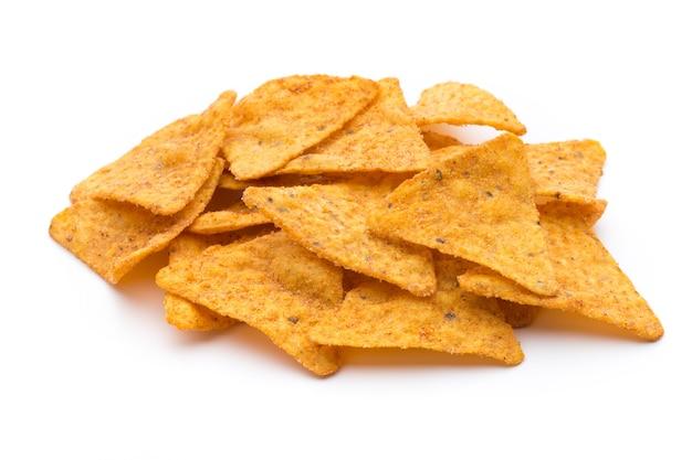 Chips de nachos, isolados no fundo branco