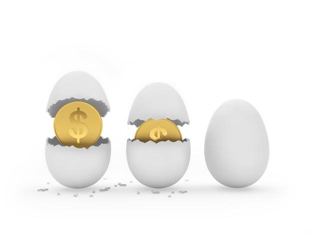 Chocando uma moeda de um dólar de três ovos