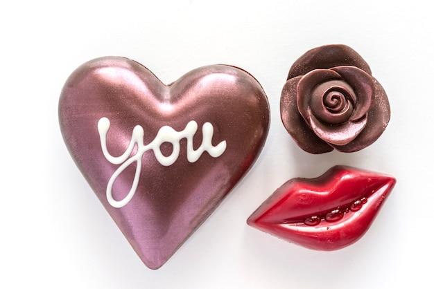Chocolate, coração, chocolate, rosa, vermelho, boca