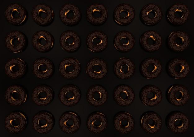 Chocolate e rosquinhas de chocolate escuras no marrom.