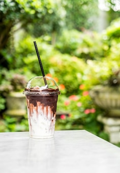 Chocolate gelado com leite