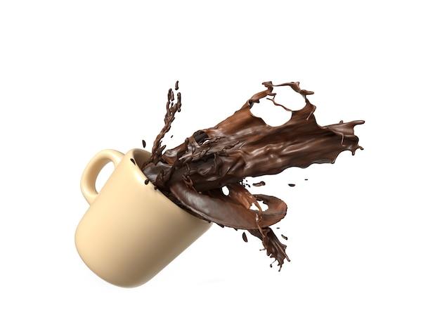 Chocolate líquido com respingo em uma xícara / caneca.