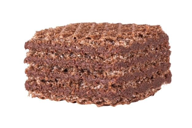 Chocolate quadrado bolacha isolado no fundo branco.