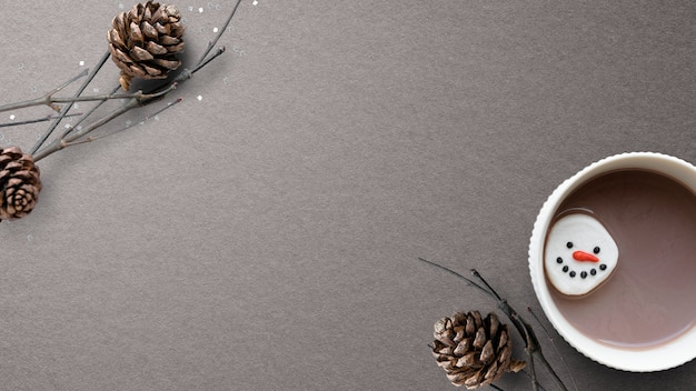 Chocolate quente de natal com espaço de design