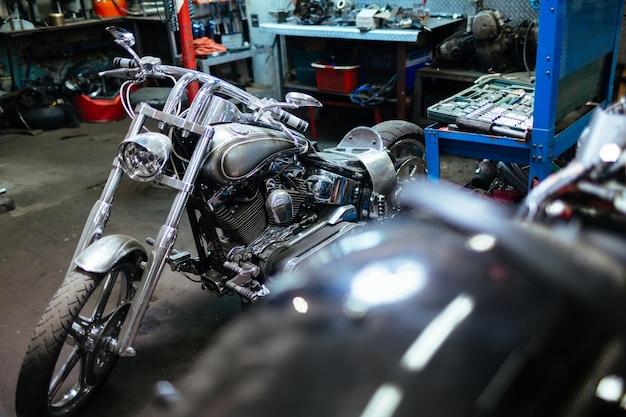 Chopper bike in garage