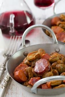 Chourico fumado com salsichas portuguesas
