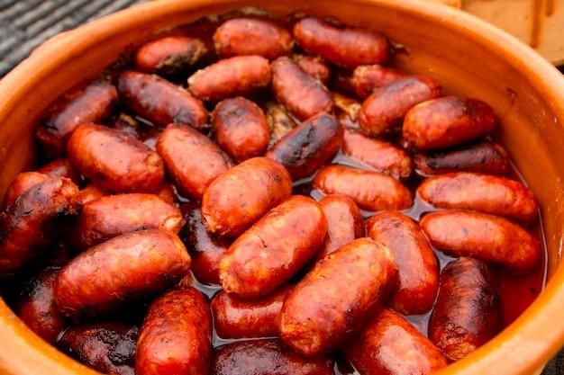 Chouriço vermelho salsicha espanhol alimentos pouco saudáveis