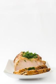 Christma porco assado em branco