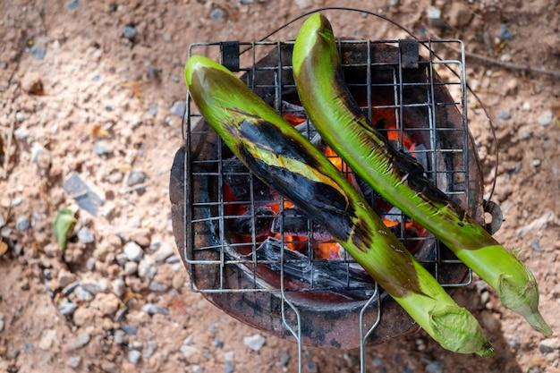 Churrasco de beringela verde longo close-up grelhado no carvão quente. conceito de saúde. vida folclórica.