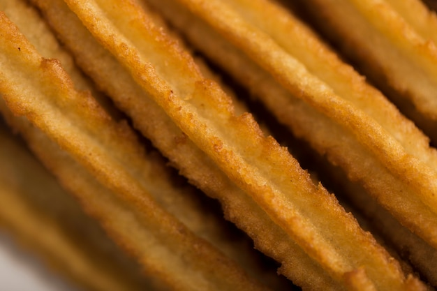 Churros de close-up extremo vista alta
