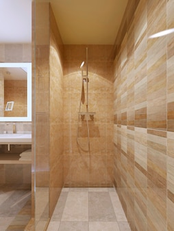 Chuveiro de alta tecnologia no banheiro com paredes de mármore com portas de vidro.