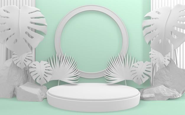 Ciano ciano mint abstrato design minimal design cena do produto 3d render