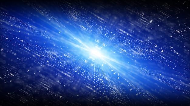 Ciberespaço digital com fundo de partículas