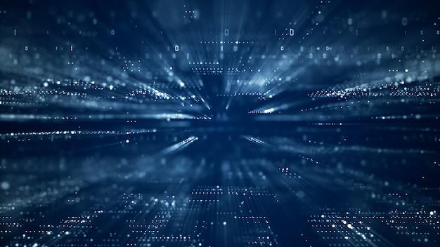 Ciberespaço digital com partículas e conceito de conexões de rede de dados digitais.
