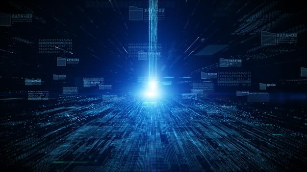 Ciberespaço digital com partículas e conexões de rede de dados digitais