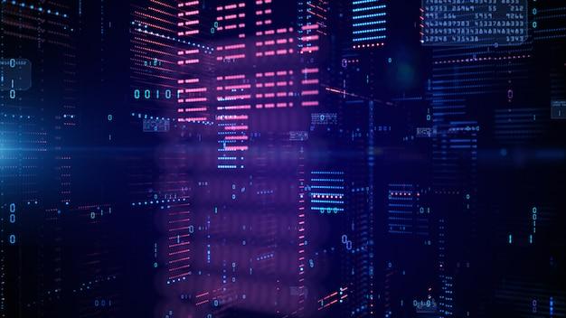 Ciberespaço digital e conexões de rede de dados.