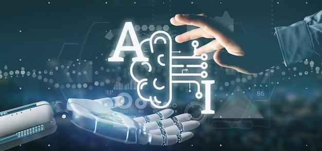 Ciborgue, mão, segurando, inteligência artificial, ícone, com, metade, cérebro, e, meio, circuito, 3d, fazendo