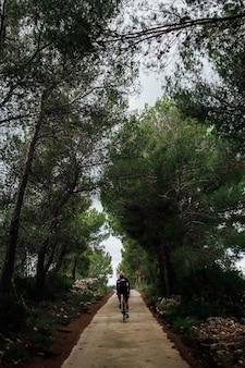 Ciclista andando de bicicleta ao pôr do sol na floresta
