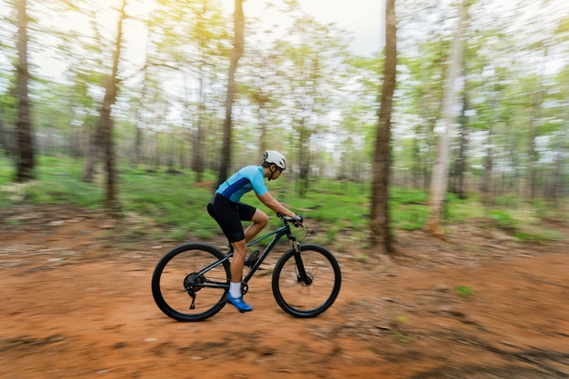 Ciclistas de ciclista de montanha treinando na floresta