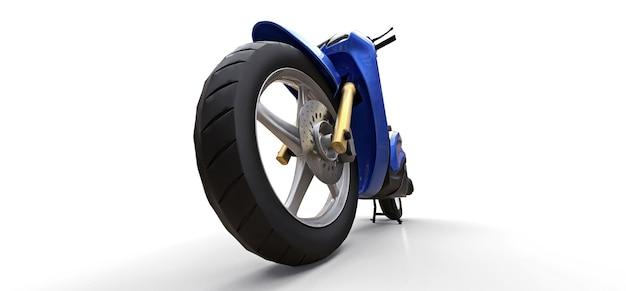 Ciclomotor azul urbano moderno em um fundo branco. ilustração 3d.