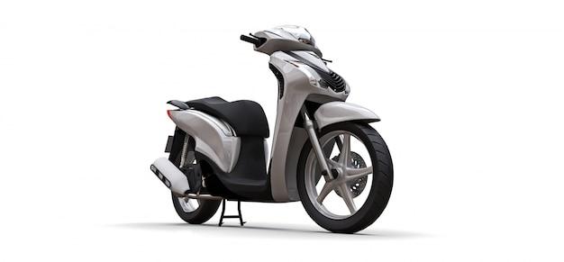 Ciclomotor branco urbano moderno em um fundo branco. ilustração 3d