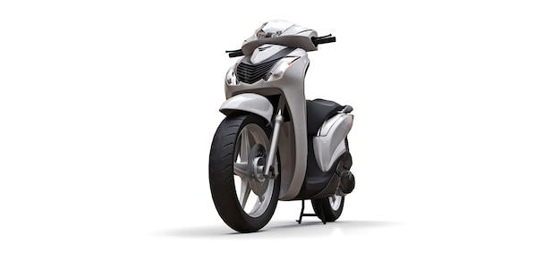 Ciclomotor branco urbano moderno em uma superfície branca