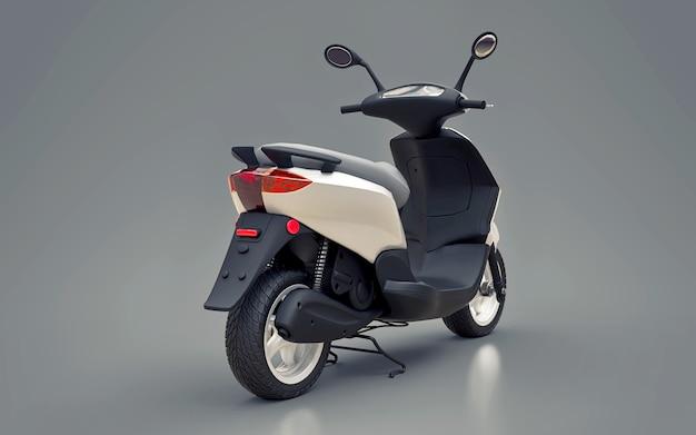Ciclomotor branco urbano moderno em uma superfície cinza