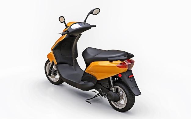 Ciclomotor laranja urbano moderno em uma superfície branca