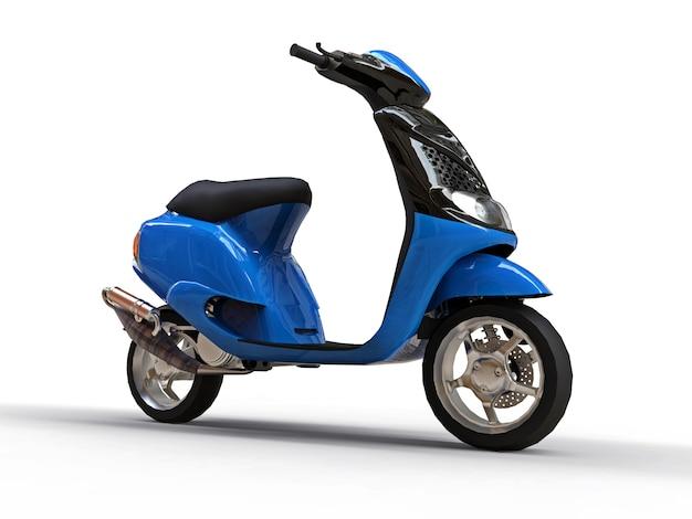 Ciclomotor preto e azul urbano moderno em uma superfície branca