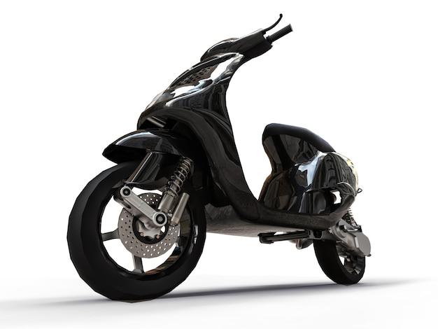 Ciclomotor preto urbano moderno em um fundo branco. ilustração 3d