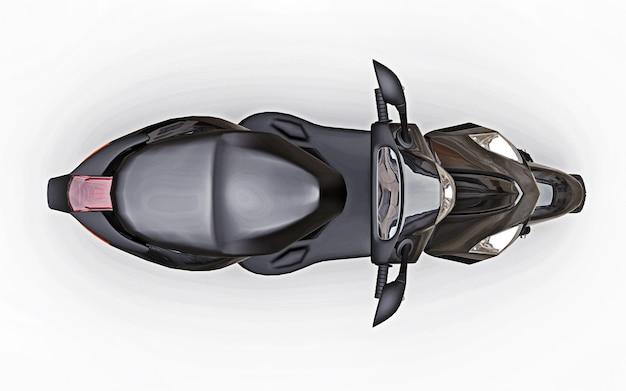 Ciclomotor preto urbano moderno em uma superfície branca