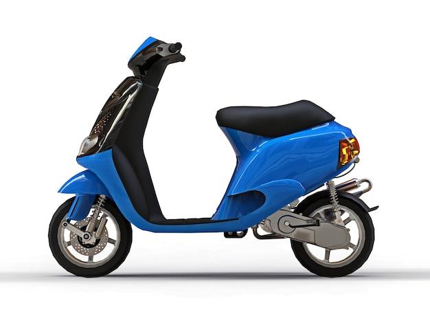 Ciclomotor urbano moderno preto e azul em uma superfície branca