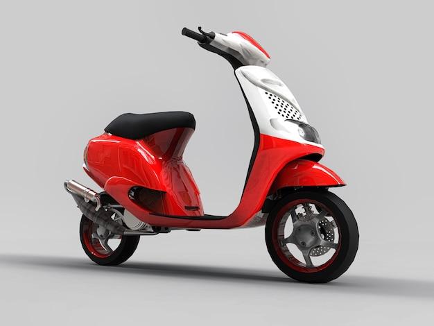 Ciclomotor vermelho e branco urbano moderno sobre um fundo cinza claro. ilustração 3d.
