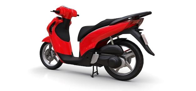 Ciclomotor vermelho urbano moderno em um fundo branco. ilustração 3d.