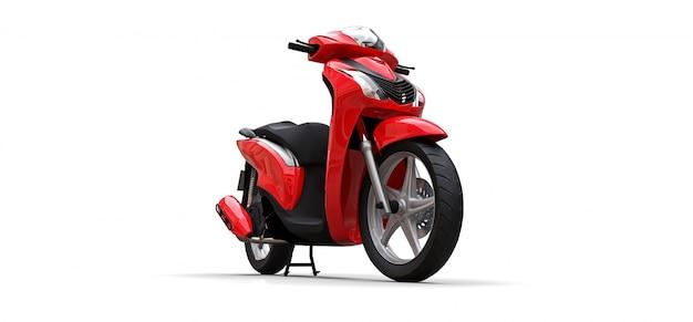 Ciclomotor vermelho urbano moderno em um fundo branco
