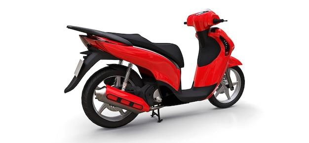 Ciclomotor vermelho urbano moderno em uma superfície branca