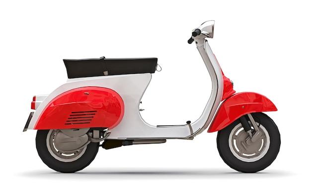 Ciclomotor vintage vermelho e branco europeu em uma superfície branca