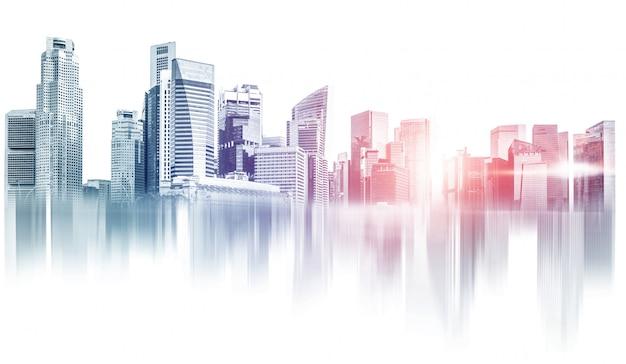 Cidade abstrata, construção de área metropolitana de horizonte.
