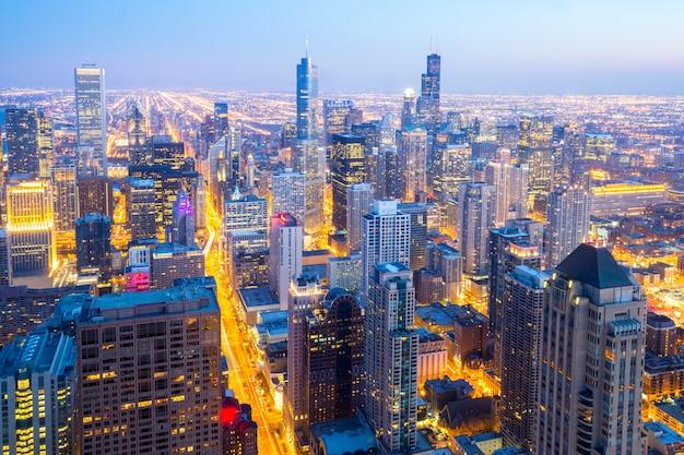 Cidade aérea de chicago no centro