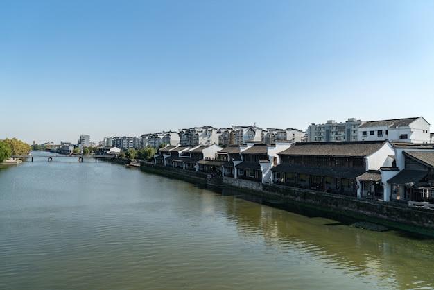 Cidade antiga de tangxi no rio do canal, hangzhou, china
