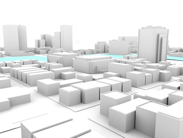Cidade branca 3d com rio de travessia
