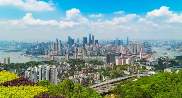 Cidade, china, predios, paisagem, água, arranha-céu