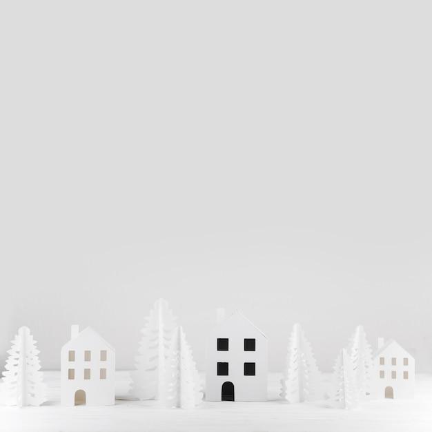 Cidade de brinquedo de inverno em miniatura